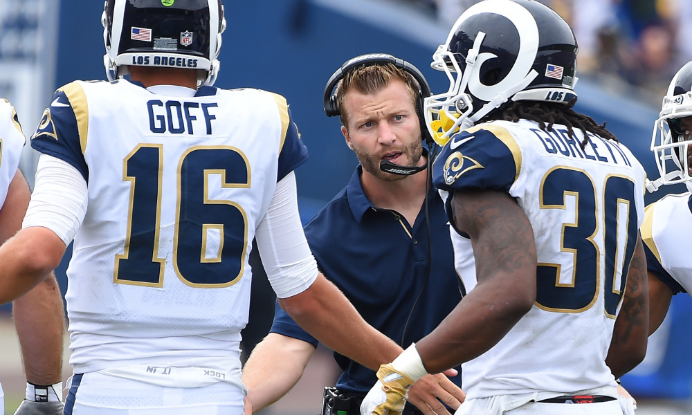 Sean McVay congratulations Jared Goff and Todd Gurley