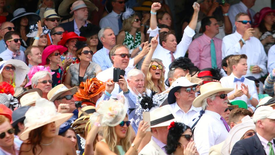 crowd excited at kentucky derby
